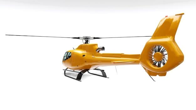 Hélicoptère jaune isolé sur fond blanc. rendu 3d.