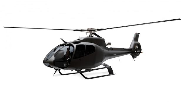 Hélicoptère noir isolé sur l'espace blanc. rendu 3d.