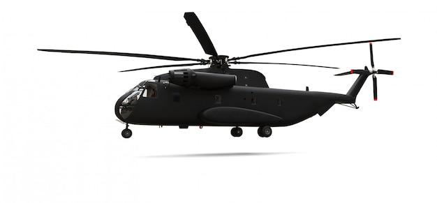 Hélicoptère de transport ou de sauvetage militaire sur fond blanc. illustration 3d
