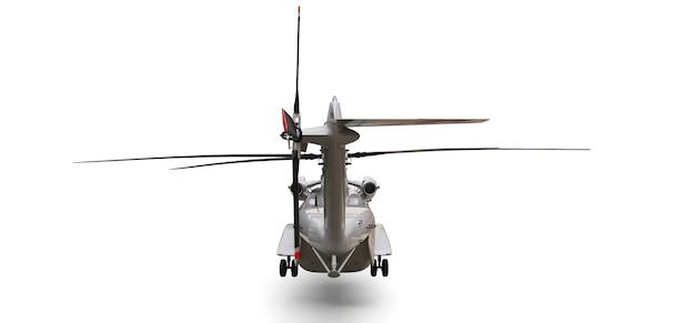 Hélicoptère de transport ou de sauvetage militaire sur fond blanc. illustration 3d.