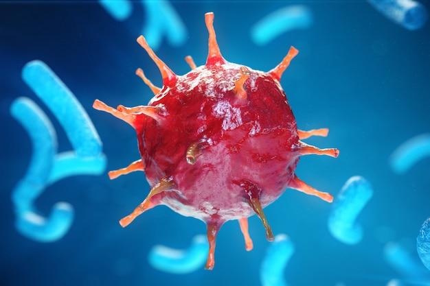 Hépatite virale causant une maladie hépatique chronique, virus de l'hépatite. illustration 3d