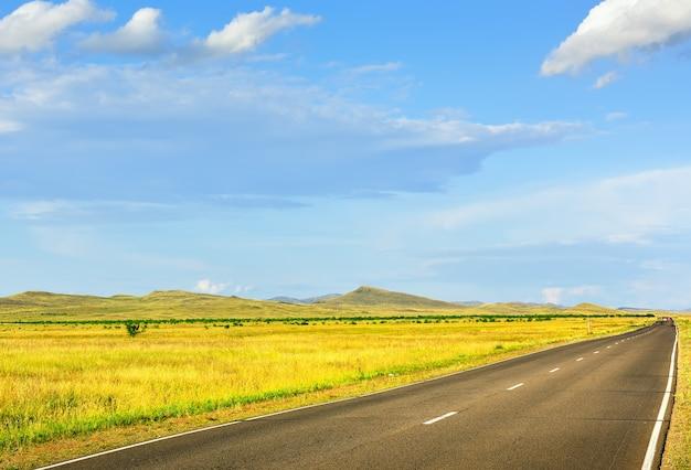 Herbe jaune au pied des collines coniques en été sous un ciel bleu nuageux. sibérie, russie