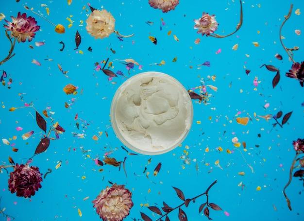 Herbe sèche de bellis avec des fleurs et de la crème de soin de la peau sur fond bleu isolé. sans ombres