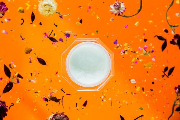 Herbe sèche bellis avec fleurs et crème de soin de la peau sur fond orange isolé. sans ombres