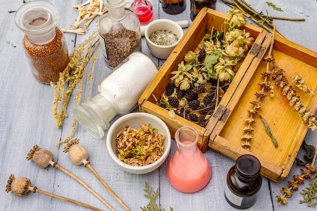 Herbes aromatiques, épices et graines en pots et boîte en bois
