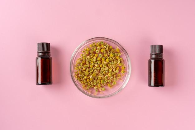 Herbes et compléments alimentaires à base de plantes vue de dessus sur tableau rose