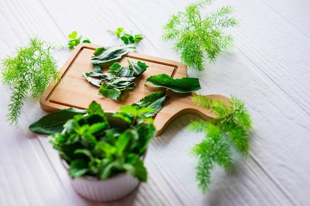 Herbes culantro et herbes menthe sur une planche à découper en bois