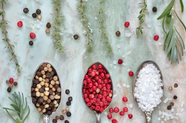 Herbes avec du sel et du poivre en cuillères sur fond de pierre en marbre