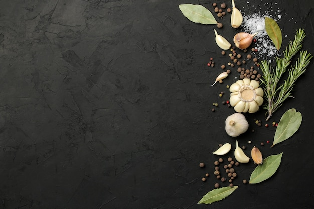 Herbes et épices. divers assaisonnements, herbes et épices sur fond noir graphite. vue de dessus. place pour le texte. espace libre