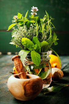 Herbes et épices avec mortier et pilon