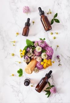 Herbes de fleurs médicales dans des huiles essentielles de mortier en bouteilles. médecine douce. mélèze trèfle tanaisie rosier