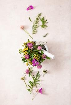 Herbes de fleurs médicales dans un mortier. médecine douce. mélèze trèfle tanaisie rosier