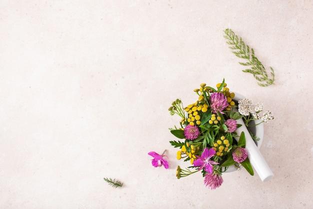Herbes de fleurs médicales dans un mortier. mélèze trèfle tanaisie rosier