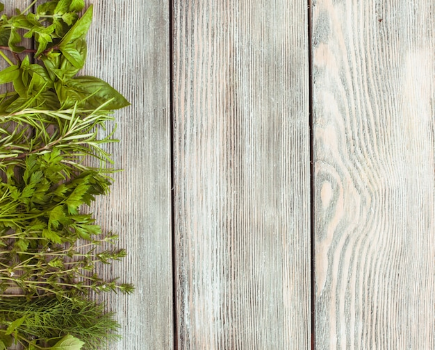 Herbes fraîches sur le fond en bois avec texte de copie
