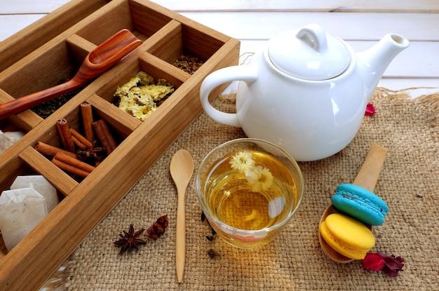 L'heure du thé dans une boîte en bois et théière avec vue de dessus de tasse