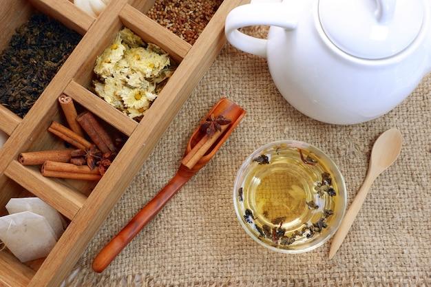 L'heure du thé dans une boîte en bois et une théière