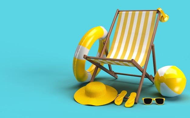 Heure d'été avec éléments, verre solaire, tongs, chapeau de plage, ballon, anneau flottant