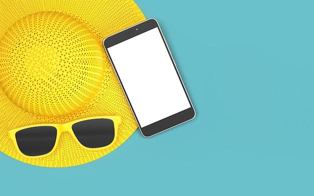 Heure d'été avec éléments, verre soleil, hat beach, arrière-plan