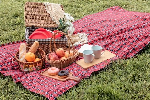 Heure d'été gros plan du panier de pique-nique avec de la nourriture et des fruits dans la nature.