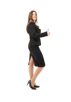 Heureuse femme d & # 39; affaires réussie sur blanc
