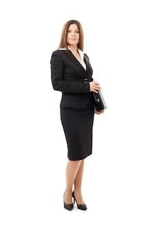 Heureuse femme d & # 39; affaires réussie avec ordinateur portable