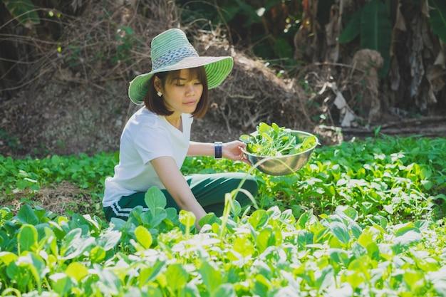 Heureuse femme asiatique souriante et portant un chapeau de paille récoltant des légumes dans le jardin