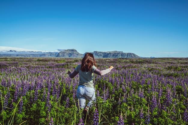 Heureuse jeune femme s'exécute dans le champ de lupin en islande.