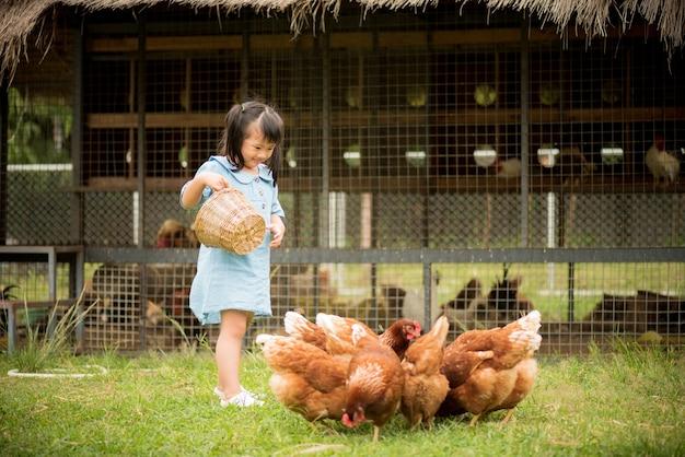 Heureuse petite fille nourrir des poulets devant l'élevage de poulets