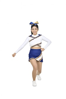 Heureuse pom-pom girl asiatique en action
