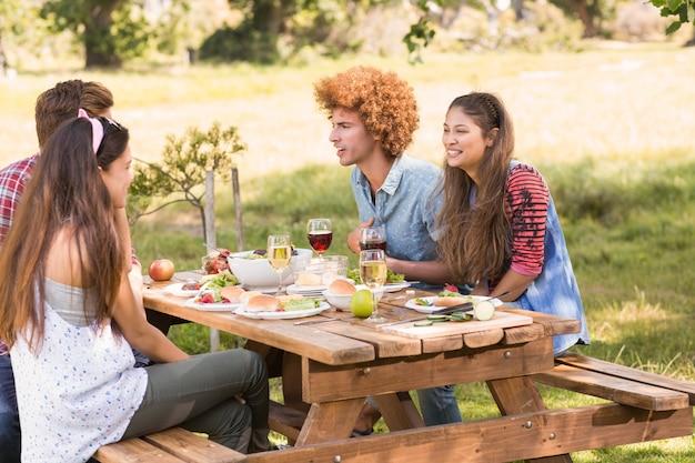 Heureux amis dans le parc ayant un barbecue