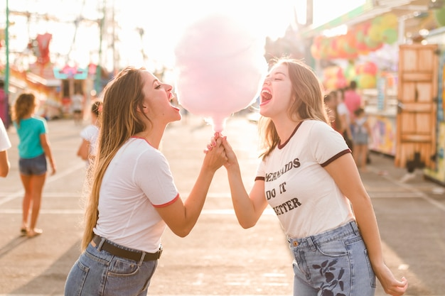 Heureux amis s'amusant dans le parc d'attractions