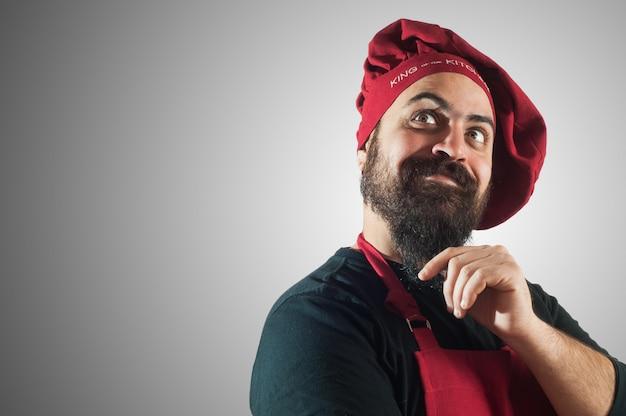 Heureux chef potelé barbu