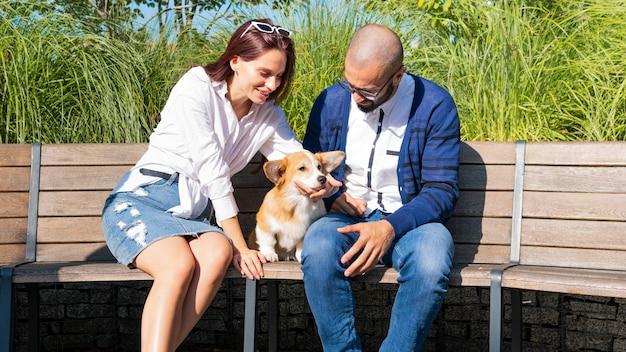 L'heureux couple est assis sur le banc dans le parc avec un petit chien mignon chiot corgi pembroke