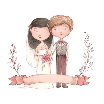 Heureux couple de jeunes mariés se marier