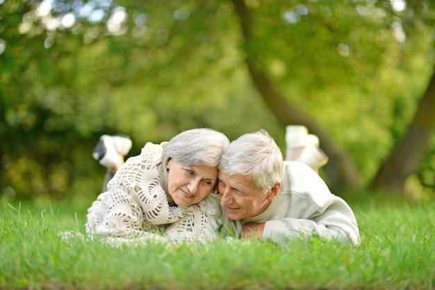 Heureux couple de personnes âgées se trouvant au pair sur l'herbe verte