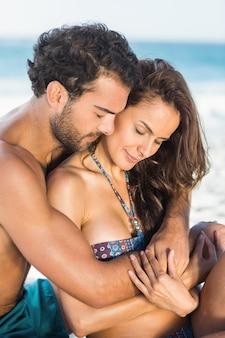 Heureux, couple, séance plage