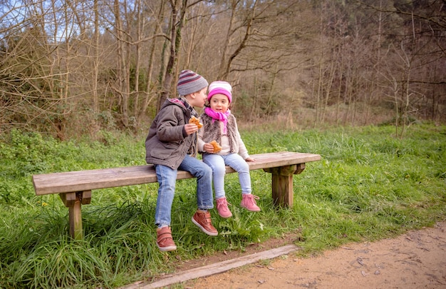 Heureux garçon mignon parlant à l'oreille d'une petite fille tout en mangeant des muffins aux pépites de chocolat assis sur un banc en bois dans le parc