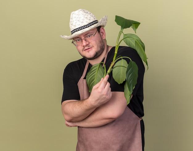 Heureux jeune homme jardinier portant chapeau de jardinage holding plant cross hands isolé sur mur vert olive