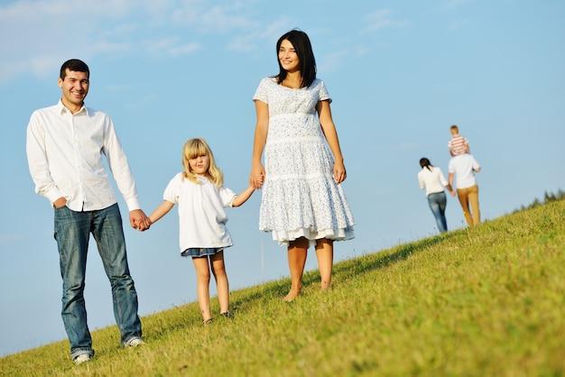 Heureux jeunes couples avec enfants sur la belle prairie d'été ayant du bon temps
