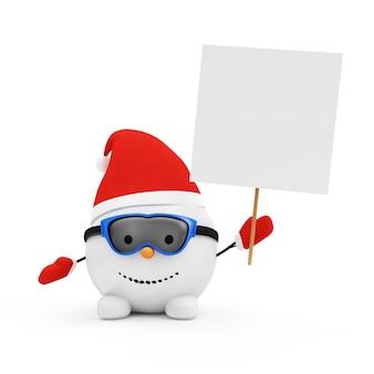 Heureux petit bonhomme de neige avec tableau blanc