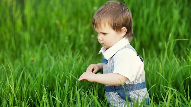 Heureux petit enfant en combinaison bleue à la mode avec de beaux yeux bleus. des jeux amusants dans de hautes herbes vertes dans un parc fleuri et verdoyant sur fond de pommier.