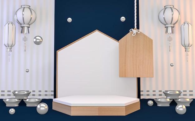 Hexagone bleu abstrait géométrique, podium de style japonais concept bleu .3d rendu