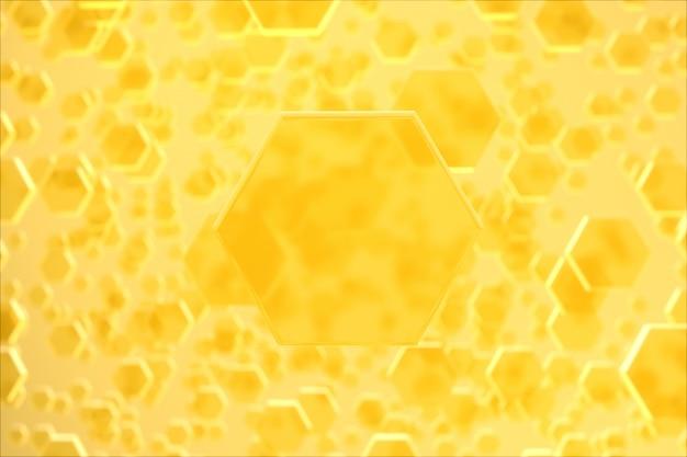 Hexagone jaune molécule beauté
