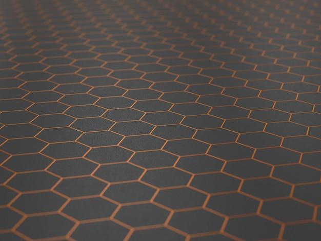 Hexagone orange sur fond sombre. illustration 3d