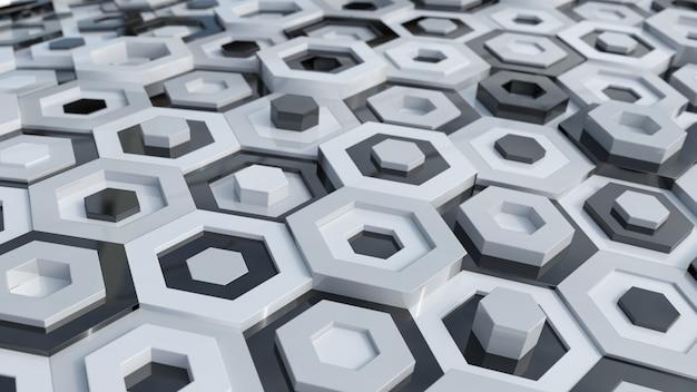 Hexagones en noir et blanc
