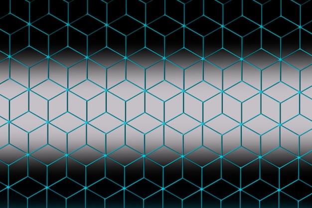 Hexagones tridimensionnels en losange bleu, gris et blanc.
