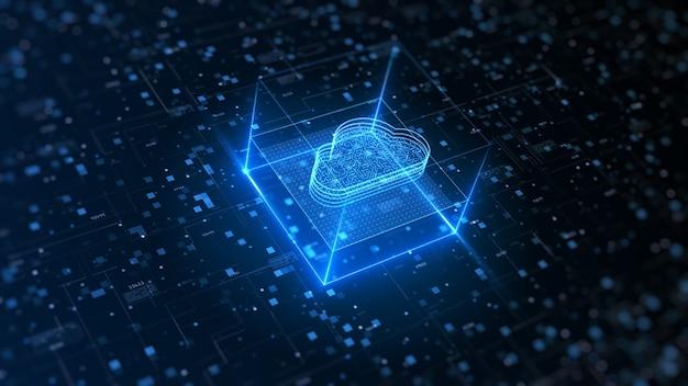 Hi tech cloud computing et cybersécurité. protection du réseau de données numériques.