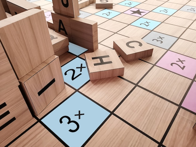 High angle view of large alphabet blocks and board