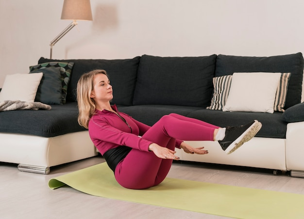High angle woman training at home
