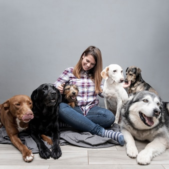 High angle woman with group of mixed race dogs